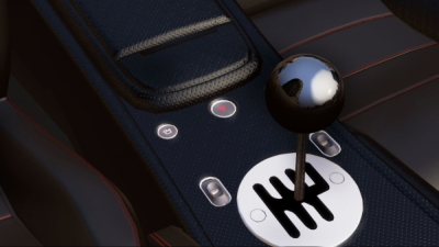 An in-game shot of the interior detail of a Lamborghini